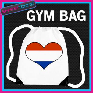 HOLLAND DUTCH HEART FLAG HEART LOVE GYM DRAWSTRING WHITE GYMSAC BAG